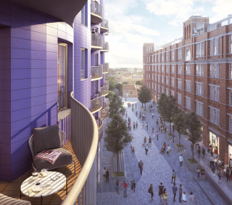 View of the public realm at Islington Square from apartment balcony, computer generated image intended for illustrative purposes only, ©Galliard Homes.