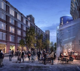 Public realm, home to brand new restaurants & fashion stores at Islington Square, computer generated image for illustrative purposes, ©Galliard Homes.