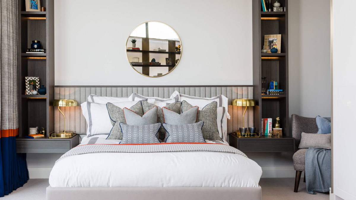 Bedroom at the Silver Works showroom, ©Galliard Homes.
