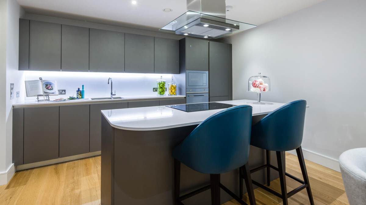 Kitchen at the Wapping Riverside show apartment, ©Galliard Homes.