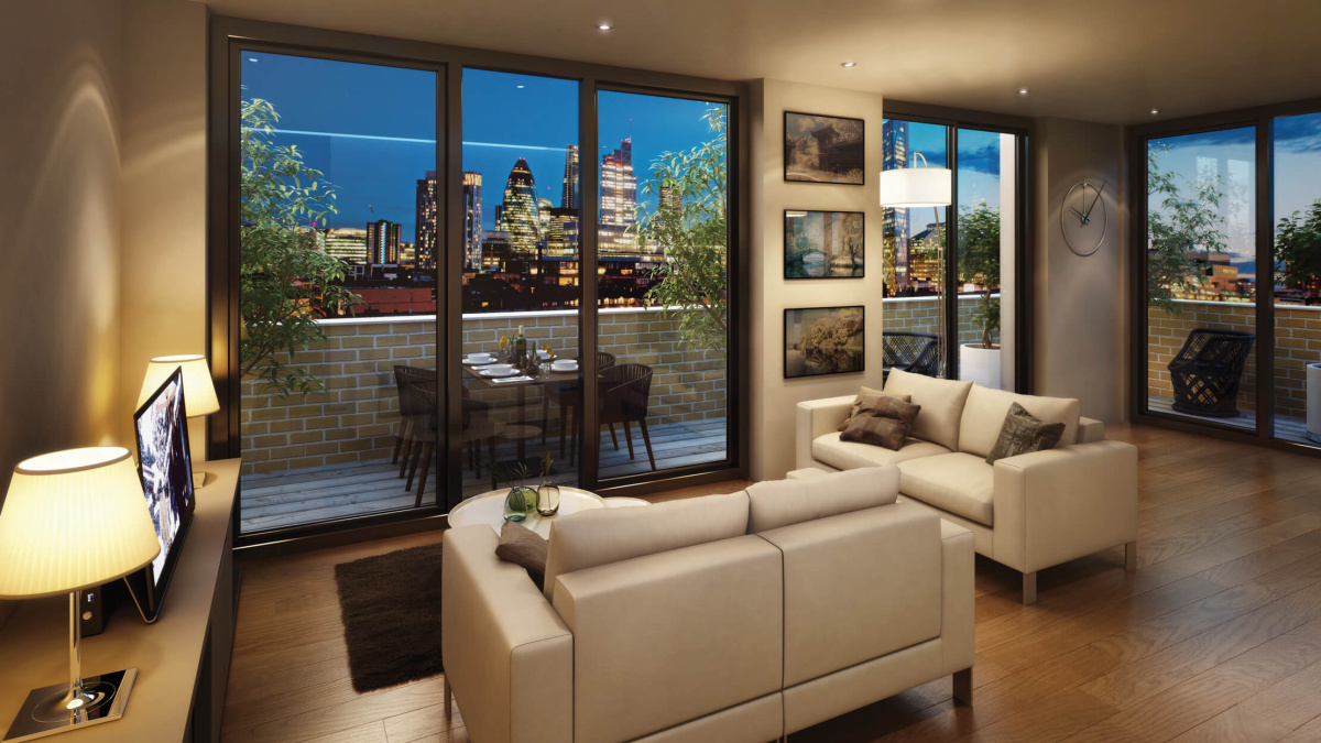 Living room and private terrace at The Fusion, computer generated image intended for illustrative purposes only, ©Galliard Homes.