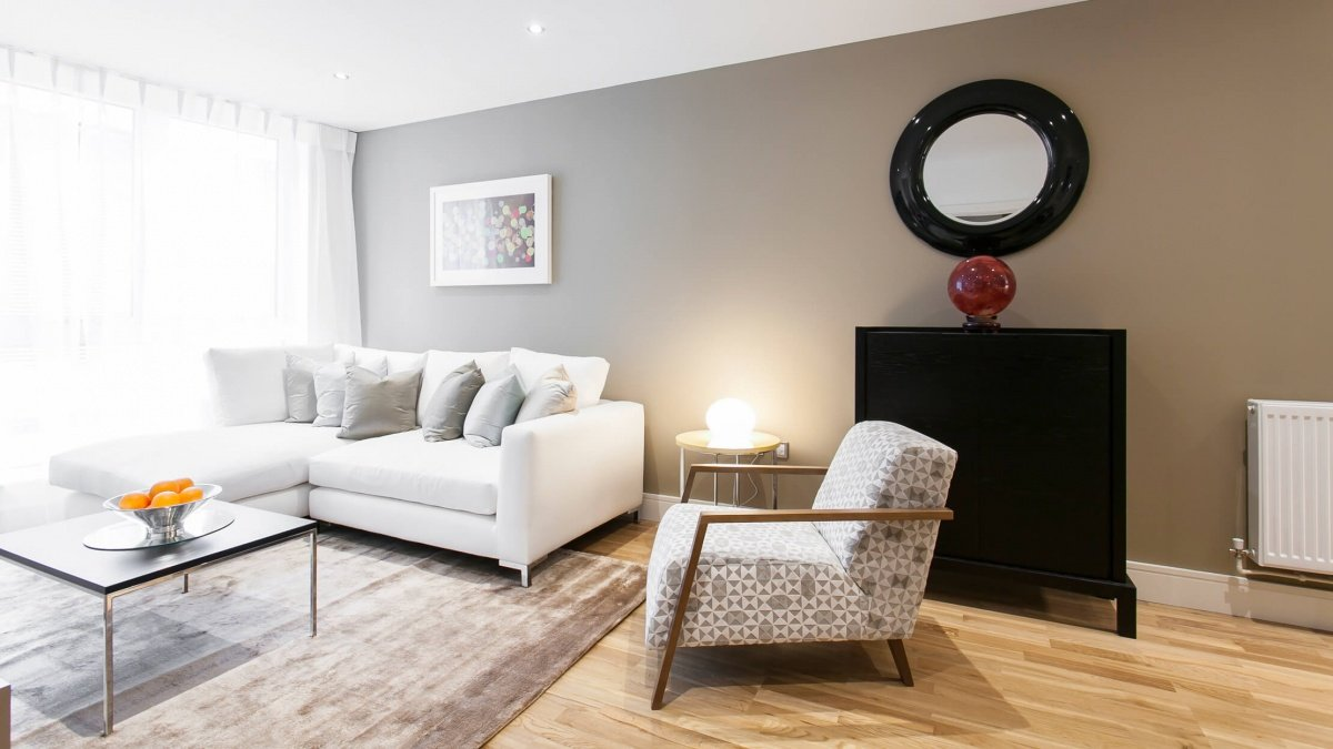 Living room at the Royal Gateway show apartment, ©Galliard Homes.