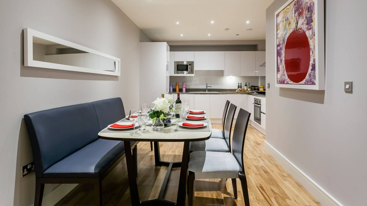 Kitchen and dining area at the Royal Gateway show apartment, ©Galliard Homes.