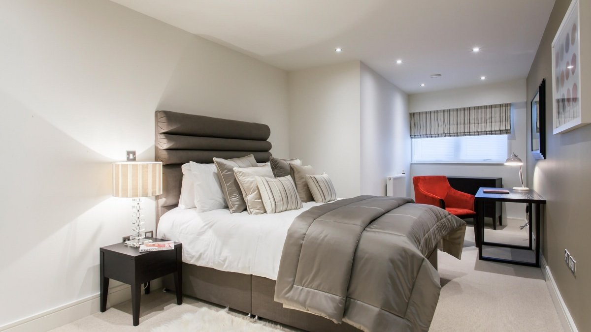 Bedroom at the Royal Gateway show apartment, ©Galliard Homes.
