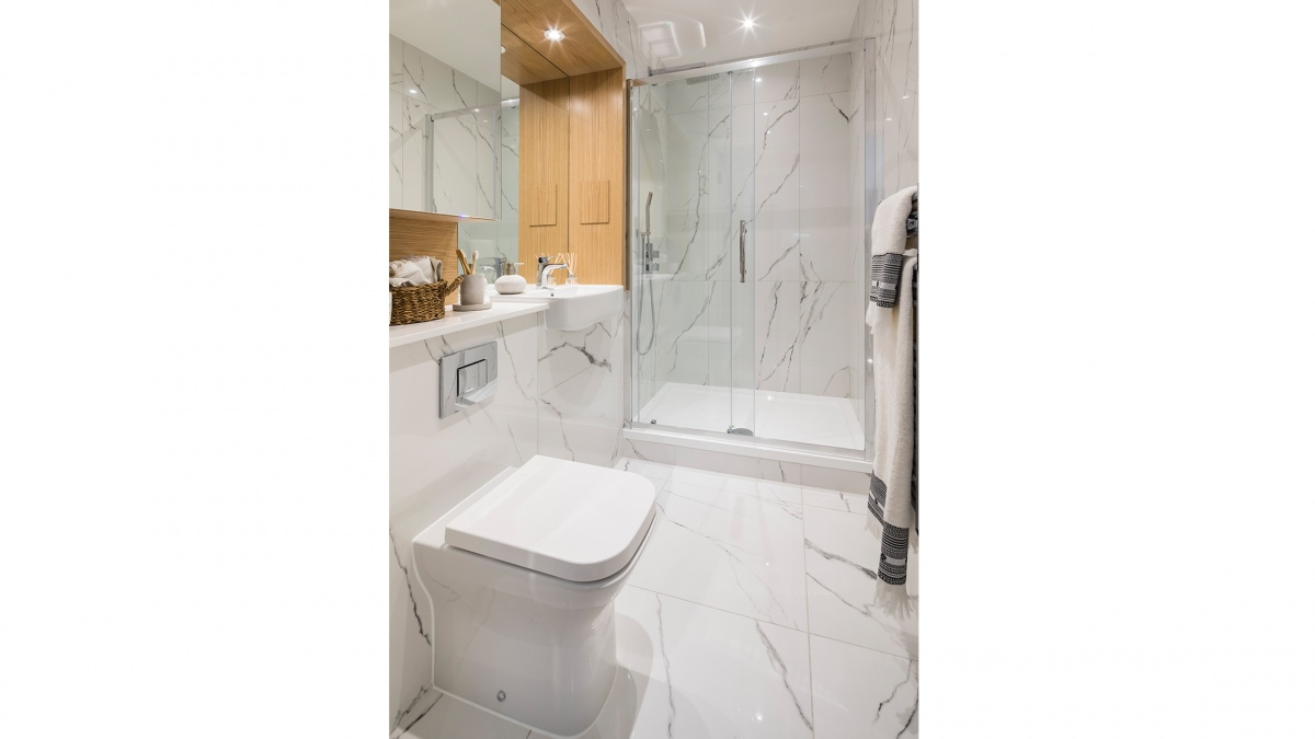 Shower room in a Galliard Homes apartment, ©Galliard Homes.