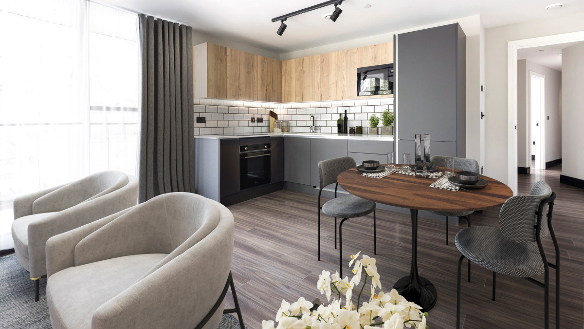 Open-plan kitchen, living and dining area in a Galliard Homes apartment, computer generated image intended for illustrative purposes only, ©Galliard Homes.