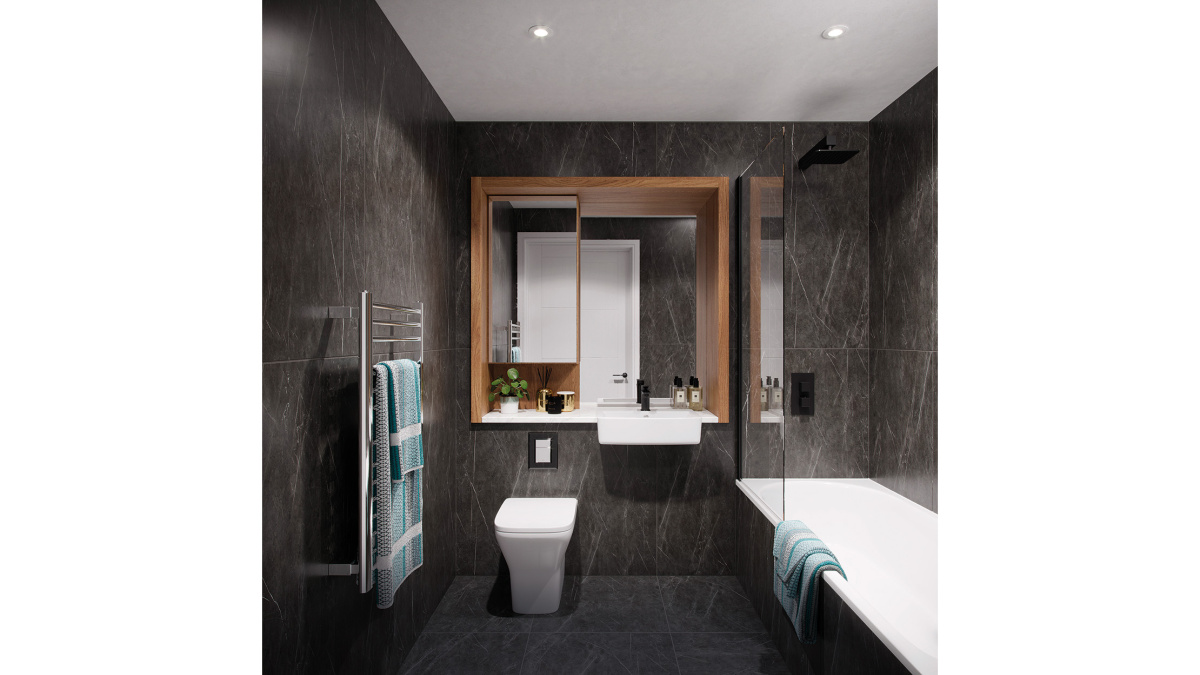 Bathroom in a Galliard Homes apartment, computer generated image intended for illustrative purposes only, ©Galliard Homes.