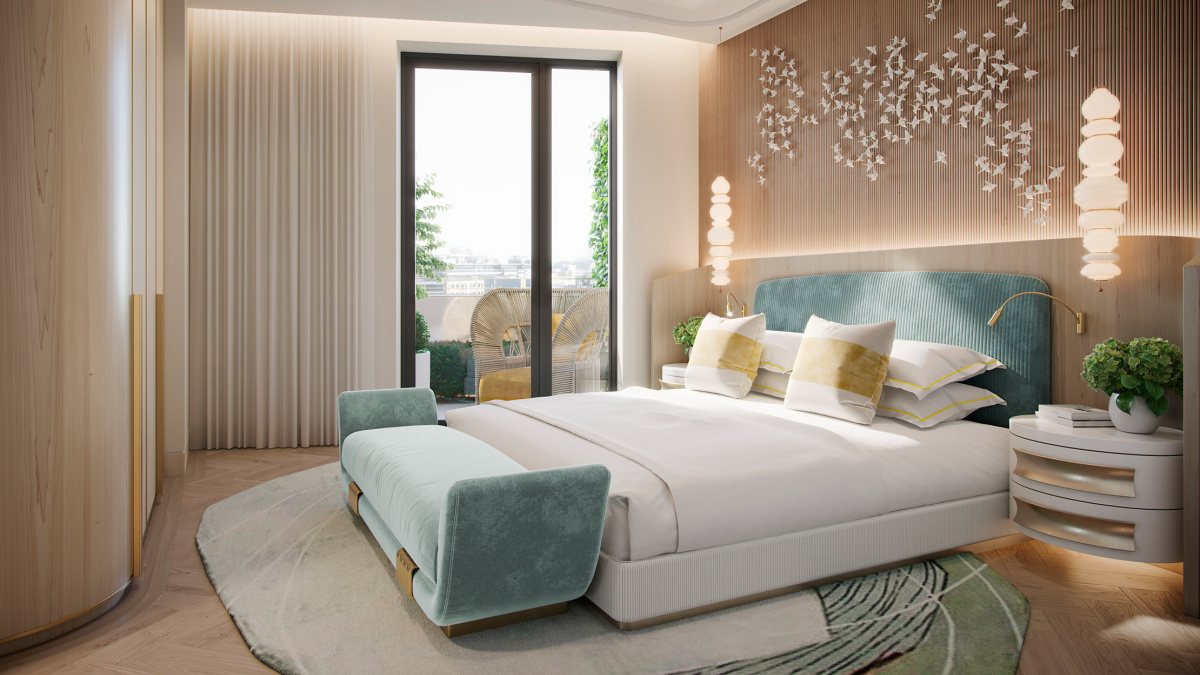 Bedroom in a penthouse apartment at TCRW SOHO; computer generated image intended for illustrative purposes only, ©Galliard Homes.