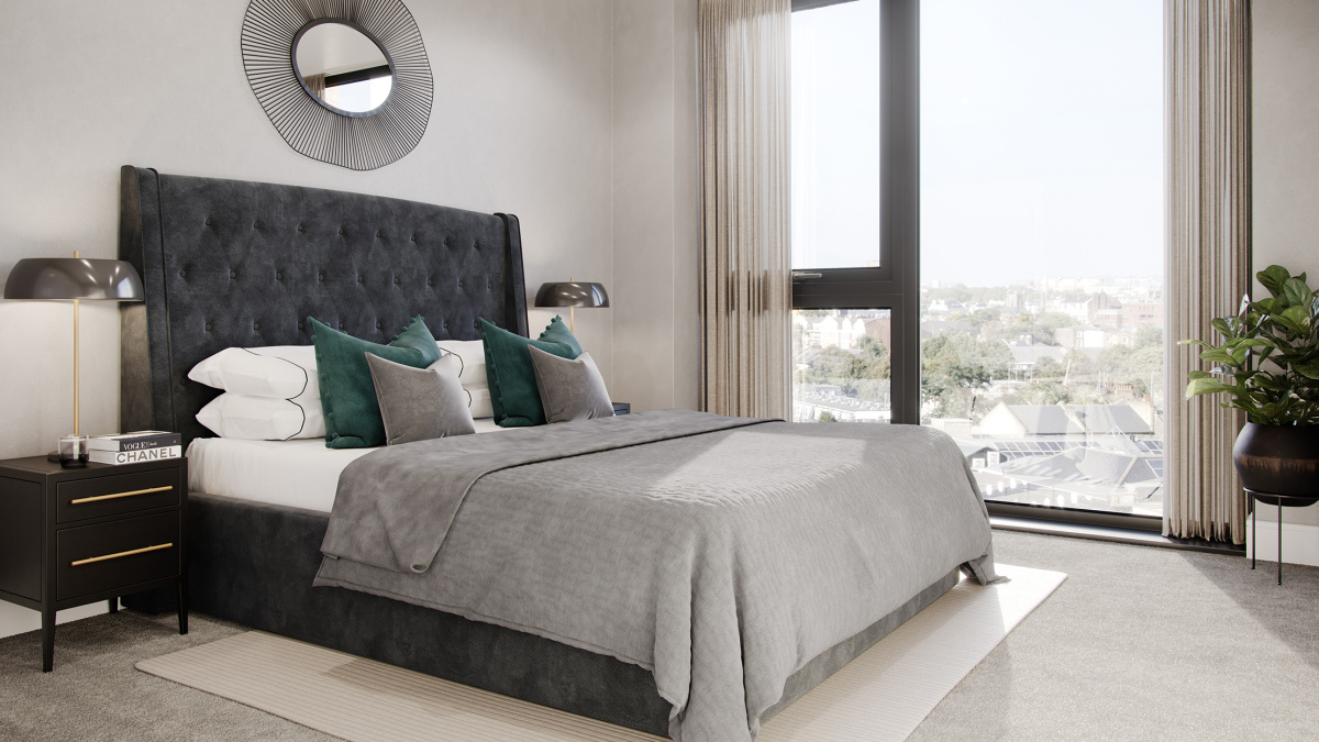Bedroom at a Galliard Homes show apartment, ©Galliard Homes.