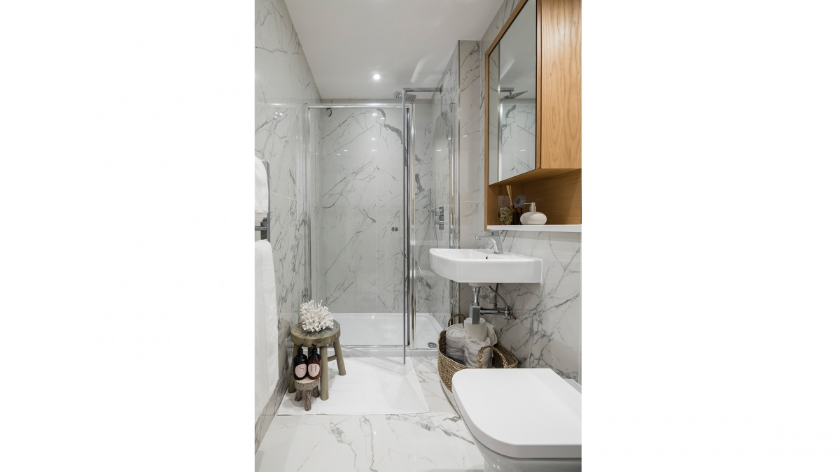 A typical shower room at a Galliard Homes show apartment, computer generated image intended for illustrative purposes only, ©Galliard Homes.