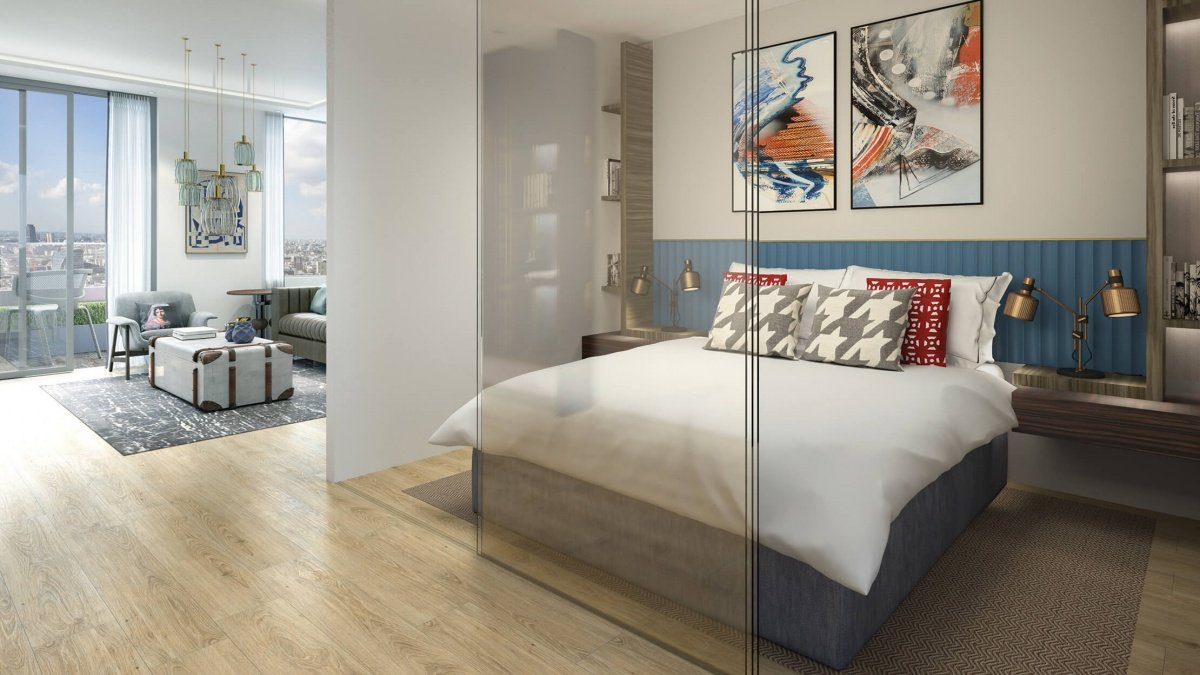 Bedroom area in a studio apartment at The Stage, computer generated image intended for illustrative purposes only, ©Galliard Homes.