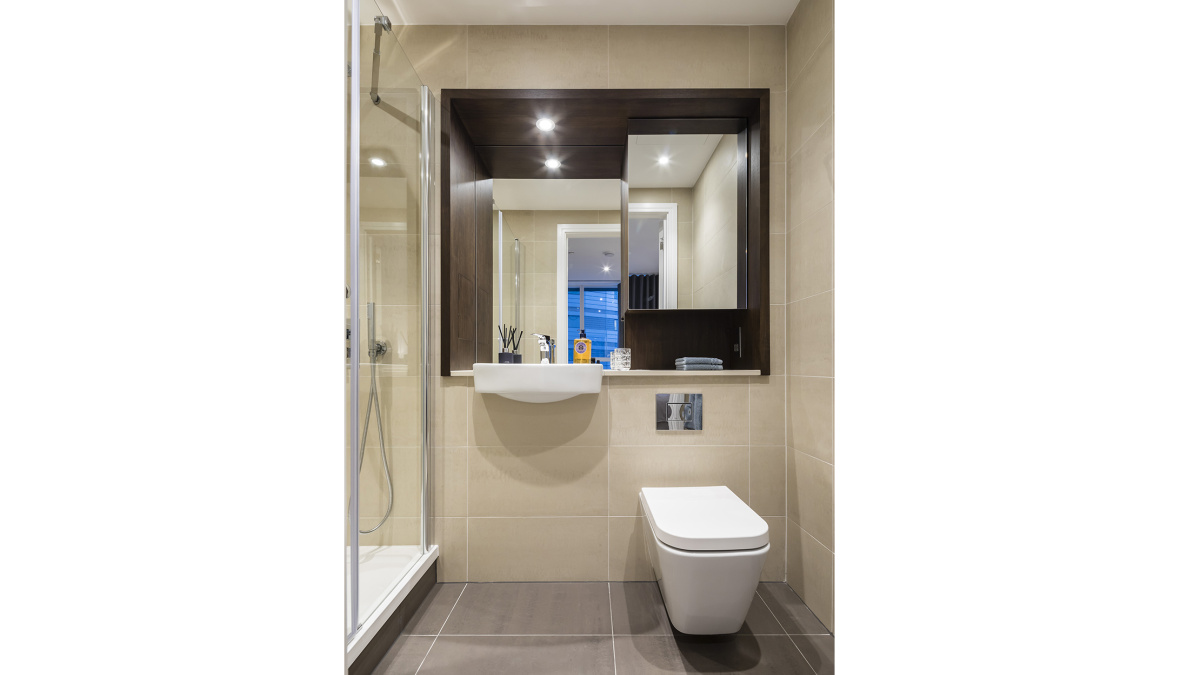 Shower room at Harbour Central, computer generated image intended for illustrative purposes only, ©Galliard Homes.