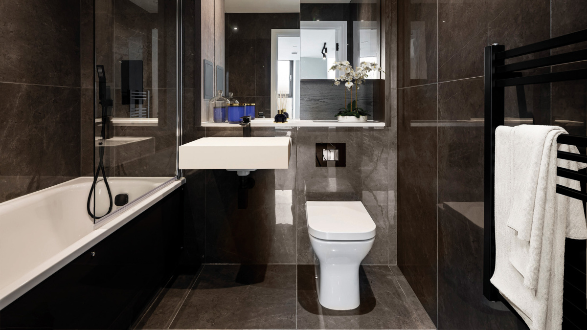 Bathroom in a Galliard Homes apartment, image intended for illustrative purposes only, ©Galliard Homes.