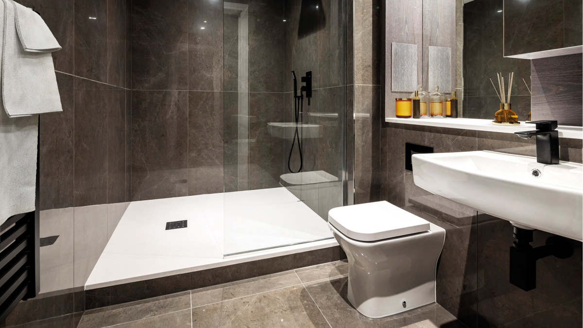 En-suite shower room in a Galliard Homes apartment, image intended for illustrative purposes only, ©Galliard Homes.