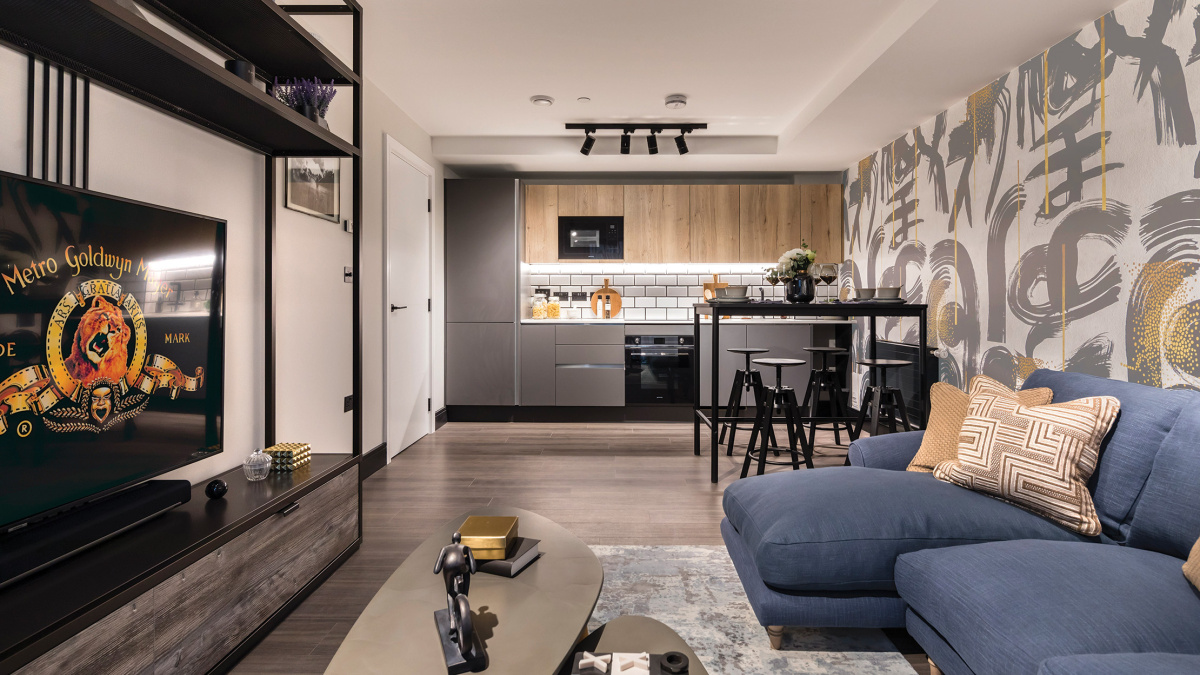 Open-plan kitchen, living and dining area in a Galliard Homes apartment, image intended for illustrative purposes only, ©Galliard Homes.