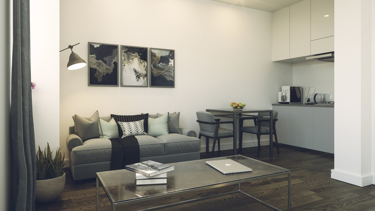 Living area at a Craneshaw House apartment, ©Galliard Homes.