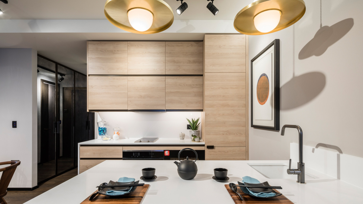 Kitchen area at The Stage; image intended for illustrative purposes only, ©Galliard Homes.
