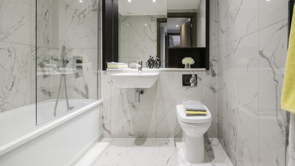 Bathroom at TCRW Soho; computer generated image intended for illustrative purposes only, ©Galliard Homes.