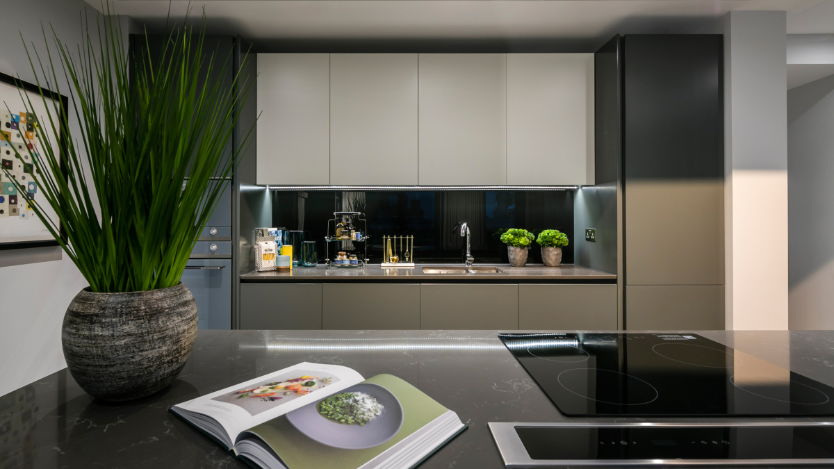 Kitchen area at TCRW Soho; computer generated image intended for illustrative purposes only, ©Galliard Homes.