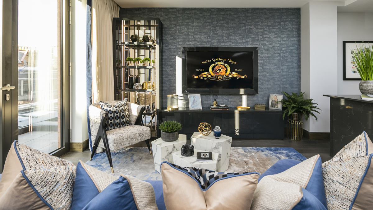 Living area at TCRW Soho; computer generated image intended for illustrative purposes only, ©Galliard Homes.