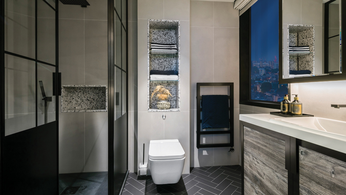 Shower room at The Stage; image intended for illustrative purposes only, ©Galliard Homes.