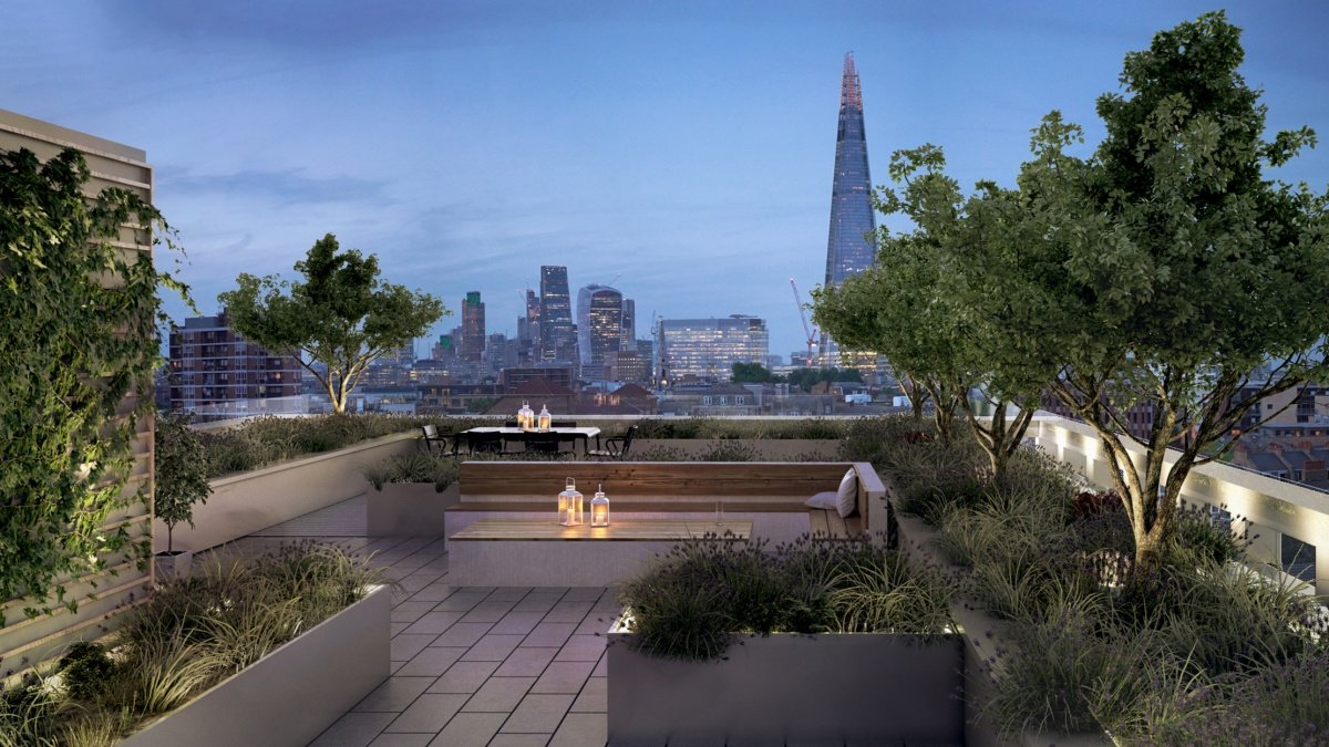 Roof terrace at Trilogy with views of The Shard and City of London, computer generated image intended for illustrative purposes only, ©Acorn Property Group.