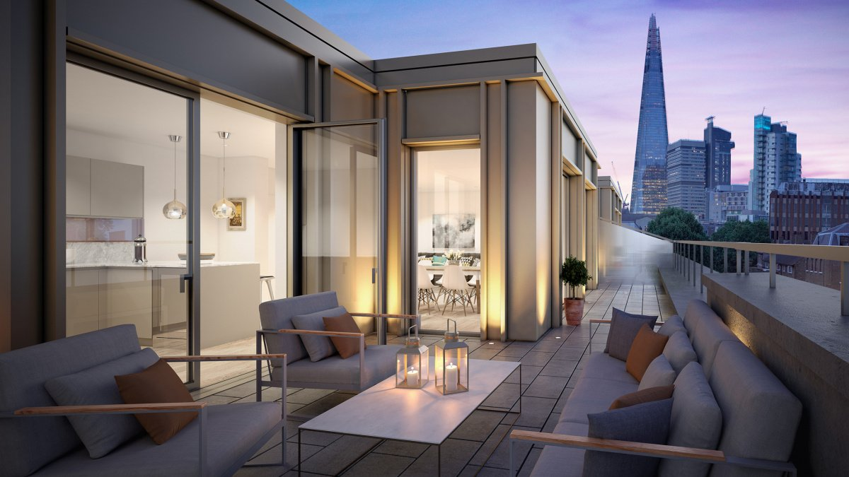 Private terrace at Trilogy, computer generated image intended for illustrative purposes only ©Acorn Property Group.