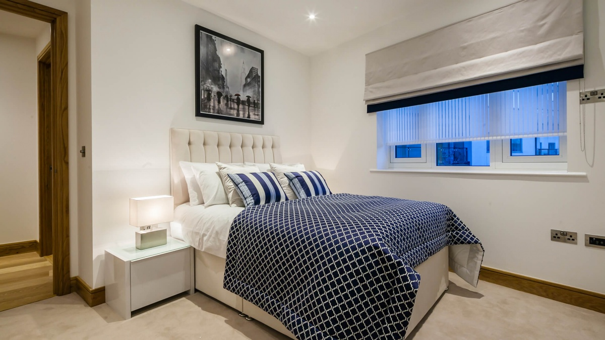Bedroom in a Galliard Homes apartment, ©Galliard Homes.