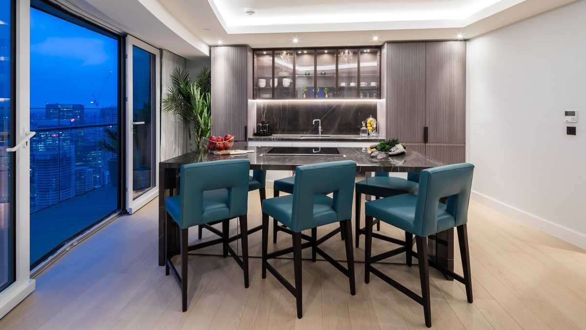 Penthouse 4402 kitchen area with access to the private terrace, ©Galliard Homes.