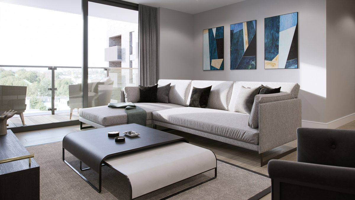 Living area at a Galliard Homes show apartment, computer generated image intended for illustrative purposes only, ©Galliard Homes.