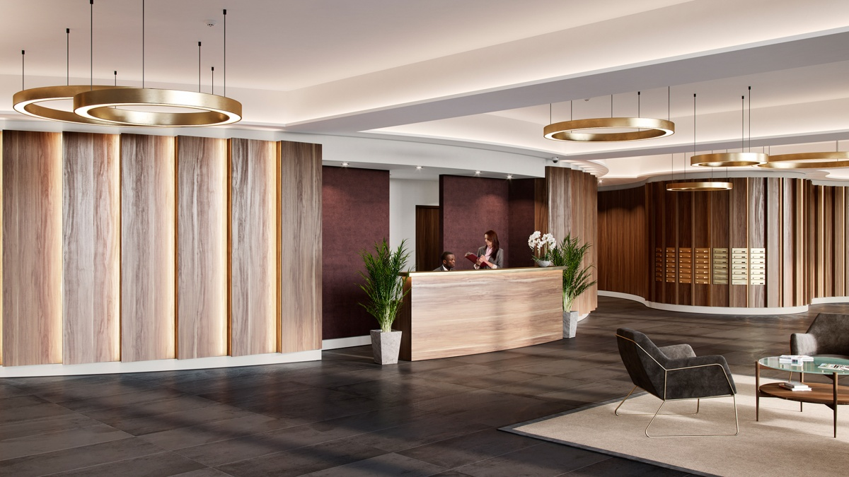Lobby at Islington Square, ©Galliard Homes.