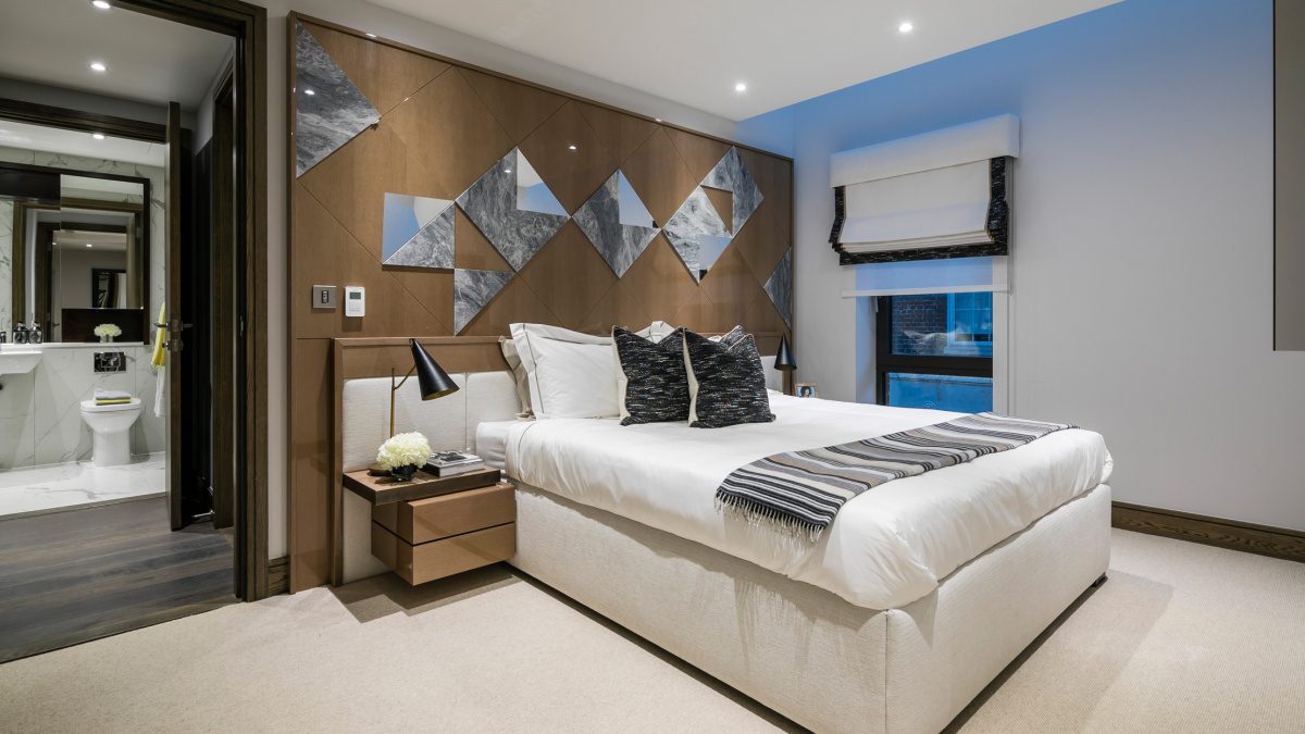 Bedroom at TCRW Soho; computer generated image intended for illustrative purposes only, ©Galliard Homes.