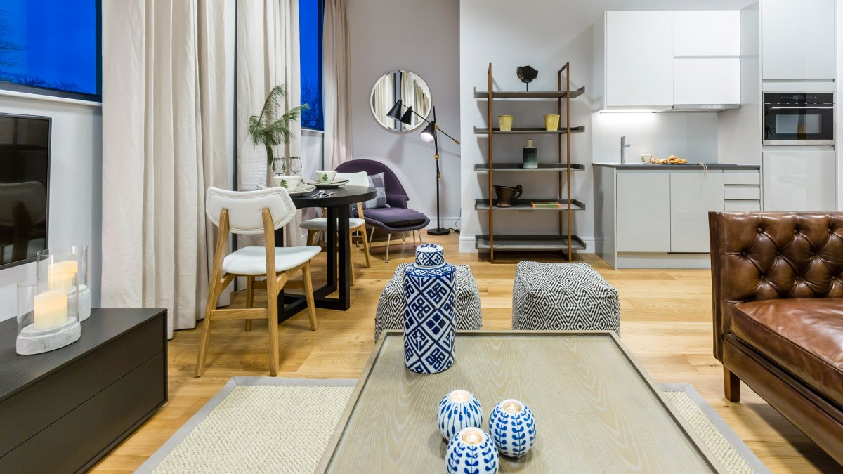 A typical living and dining area at a Galliard Homes show apartment, ©Galliard Homes.
