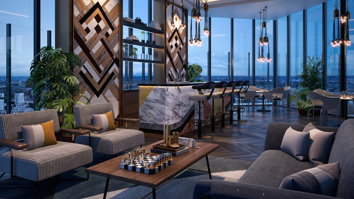 The 32nd level sky lounge at The Stage; computer generated image intended for illustrative purposes only, ©Galliard Homes.