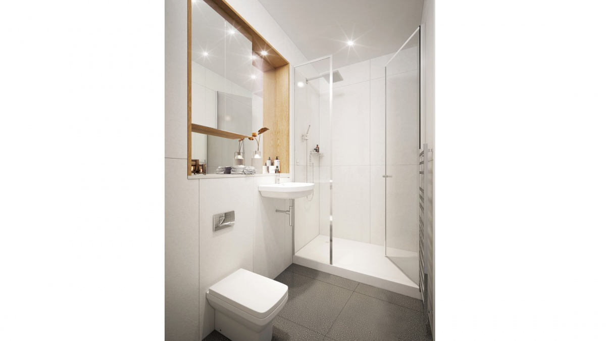 Shower room at a Galliard Homes showroom, ©Galliard Homes.