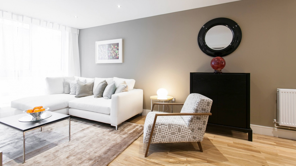 Living area in a Galliard Homes apartment, ©Galliard Homes.
