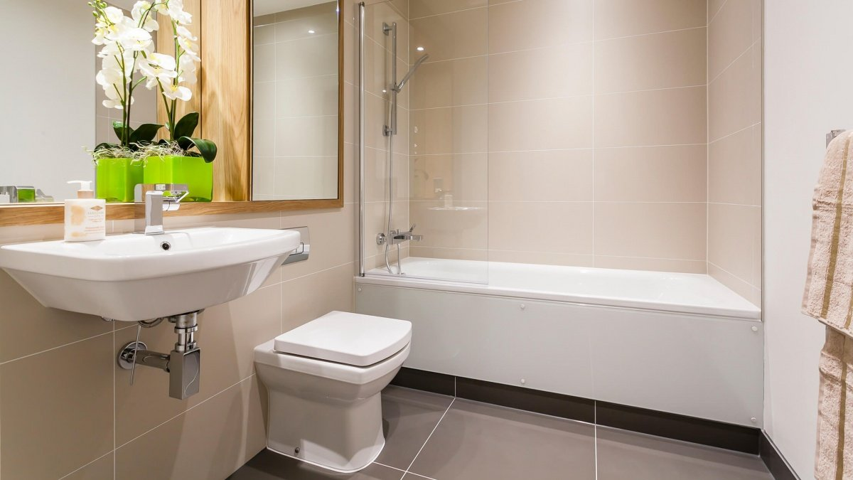 Bathroom in a Galliard Homes apartment, ©Galliard Homes.