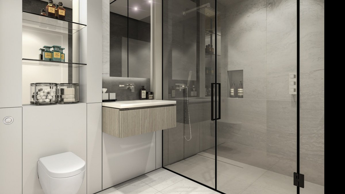 Shower room in a studio apartment at The Stage, computer generated image intended for illustrative purposes only, ©Galliard Homes.
