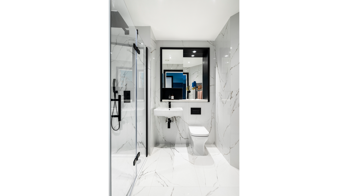 A typical shower room at a Galliard Homes Highlife Collection show apartment, ©Galliard Homes.