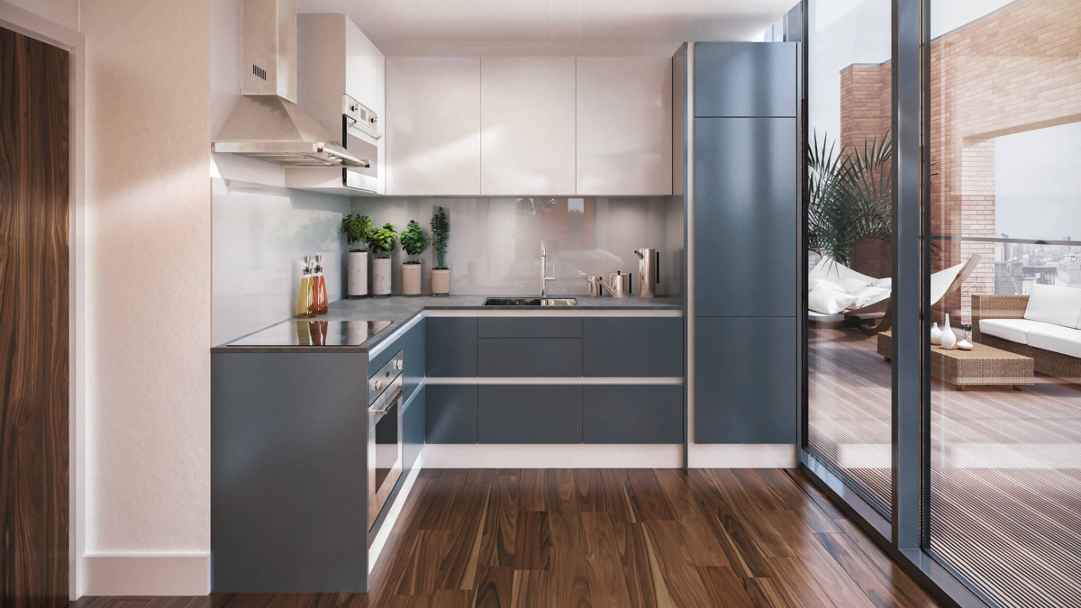 Kitchen at Orchard Wharf, computer generated image intended for illustrative purposes only, ©Galliard Homes.