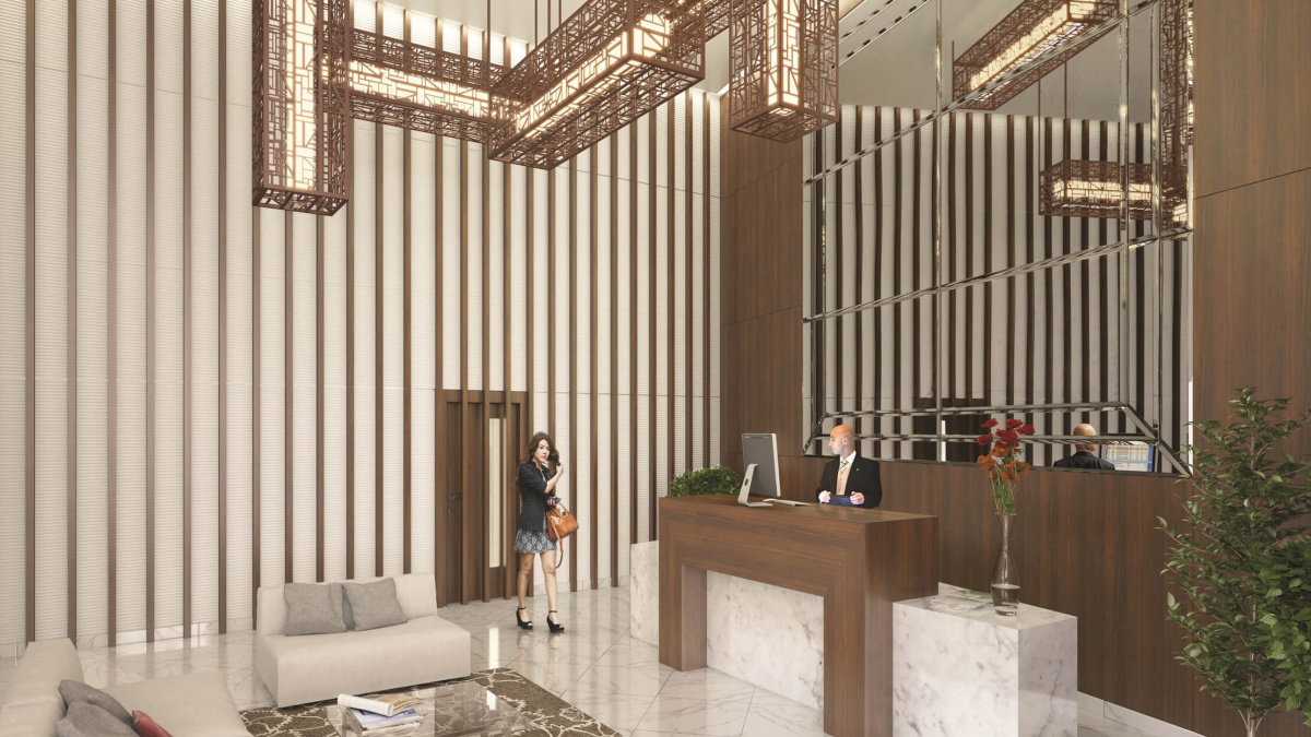 Reception foyer at Orchard Wharf, computer generated image intended for illustrative purposes only, ©Galliard Homes.