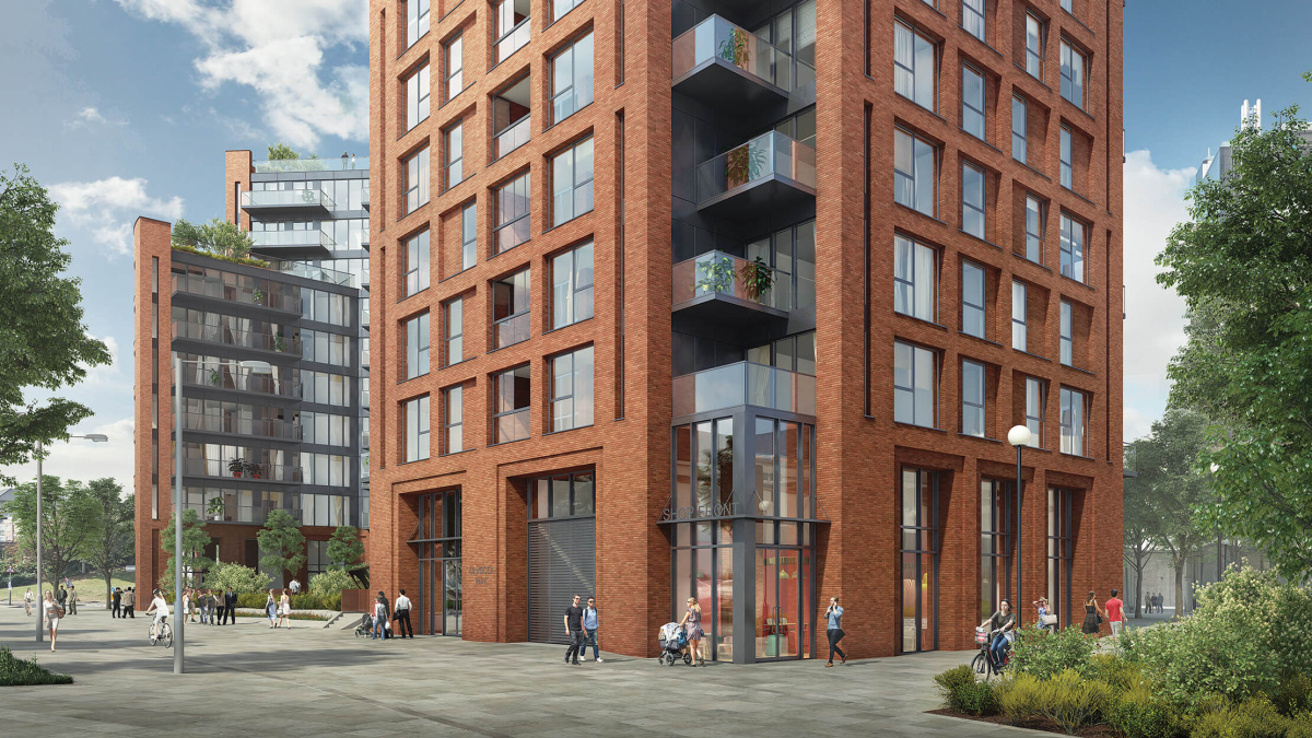 Orchard Wharf exterior and pedestrian walkway, computer generated image intended for illustrative purposes only, ©Galliard Homes.