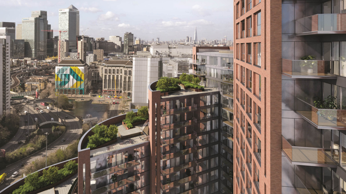 Orchard Wharf exterior, computer generated image intended for illustrative purposes only, ©Galliard Homes.