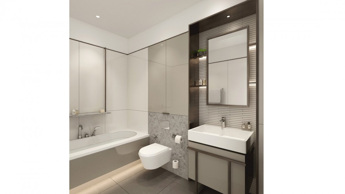 En-suite bathroom at Islington Square, ©Galliard Homes.