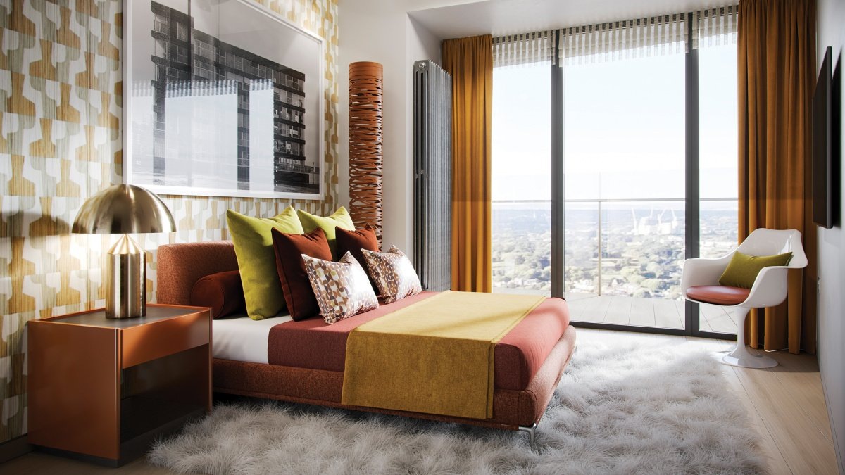 Bedroom at an Arena Tower apartment, ©Galliard Homes.