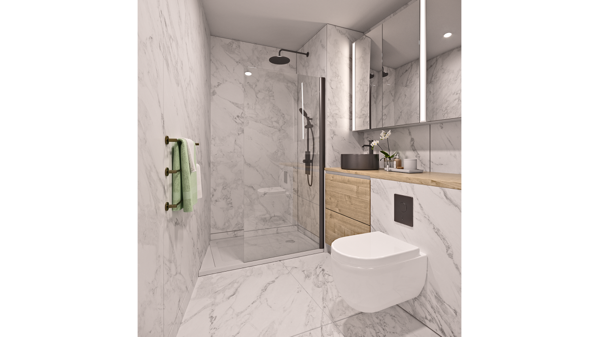 Shower room at an Arena Tower duplex apartment, computer generated image for illustrative use only, ©Galliard Homes
