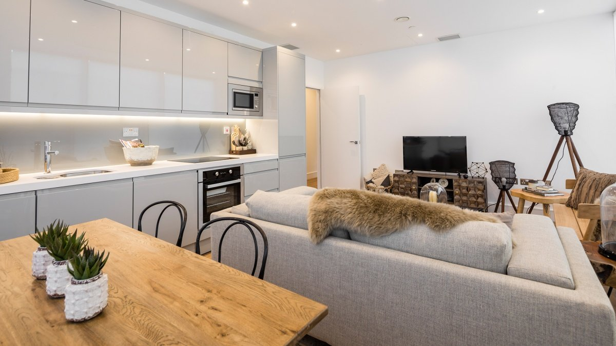 A typical kitchen area at a Galliard Homes show apartment, ©Galliard Homes.