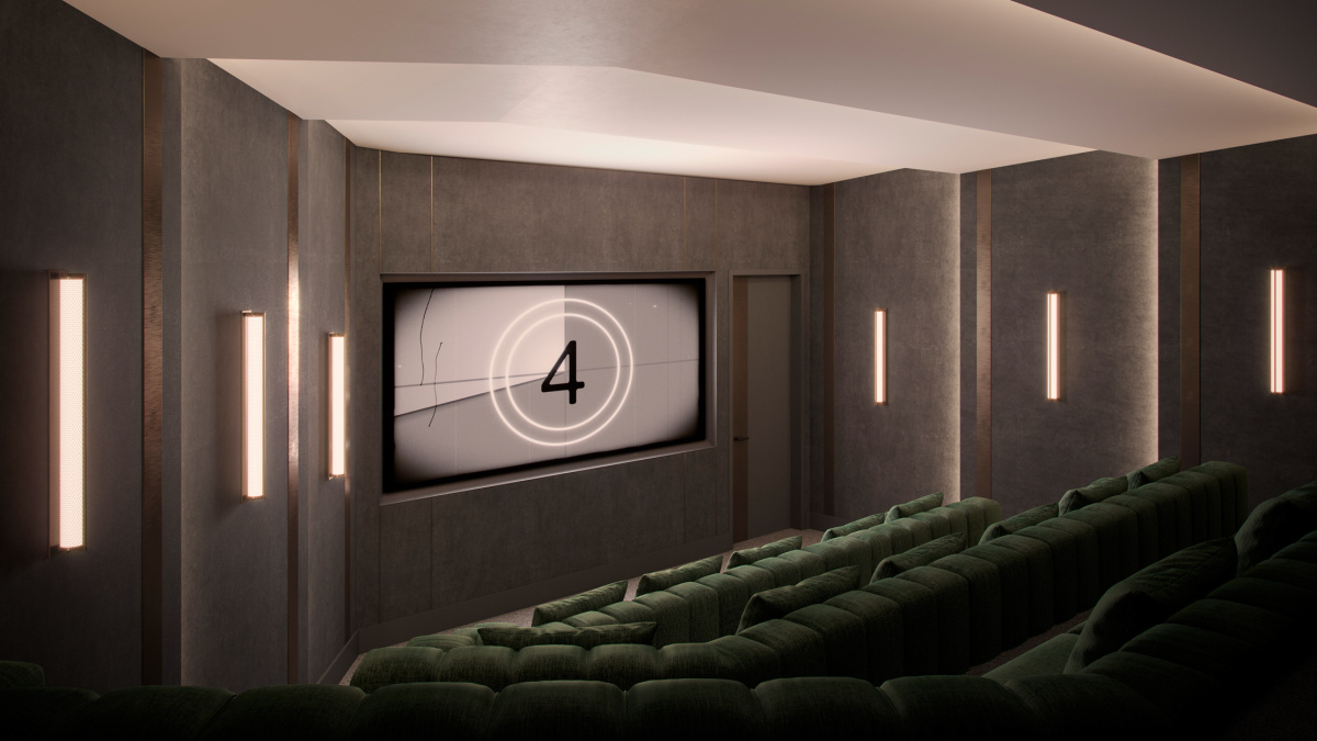 Private screening room at The Stage; computer generated image intended for illustrative purposes only, ©Galliard Homes.