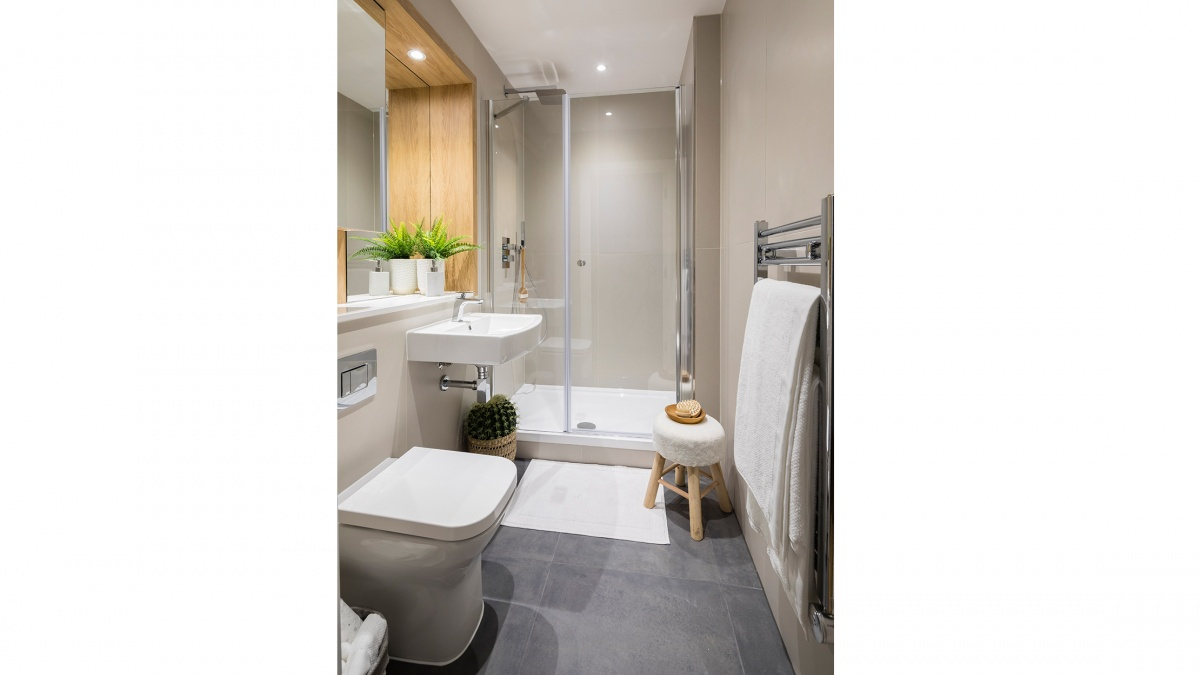 Shower room in a typical Galliard apartment, ©Galliard Homes.