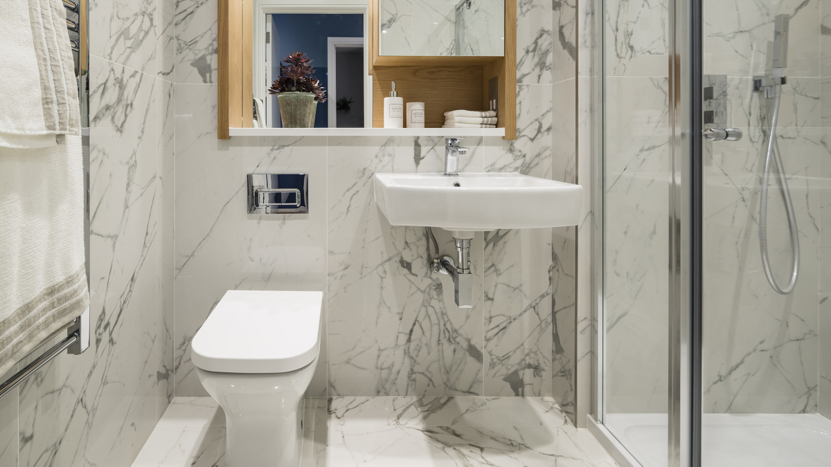 A typical shower room at a Galliard Homes show apartment,©Galliard Homes.